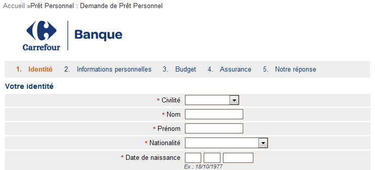 formulaire demande de crédit Carrefour Banque