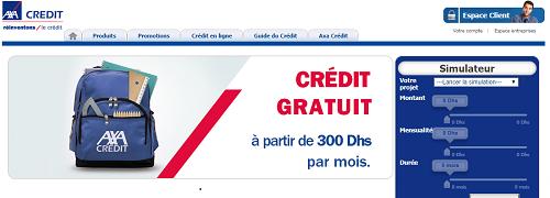 axa crédit gratuit 300 dhs