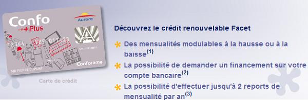 carte crédit renouvelable facet aurore confo